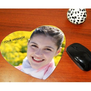 Custom photo on heart shaped mouse pad backview