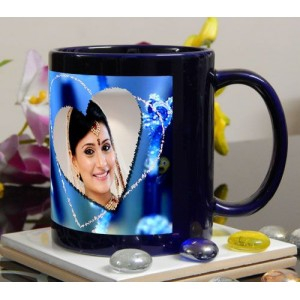 Deep blue colored personalized photo mug