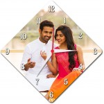 Diamond shaped wall clock personalized with photo and text