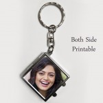Double sided diamond shaped personalized Metal Key Ring with mirror