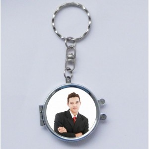Double sided personalized Metal Key Ring with mirror backview