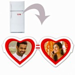 Dual heart plastic personalized fridge magnet