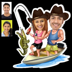 Personalized Fishing couple caricature fridge magnet backview