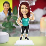 Fitness lady in gym caricature Photo Stand In