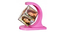 Personalized revolving floating photo cube magnetic Pink