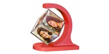 Personalized revolving floating photo cube magnetic Red