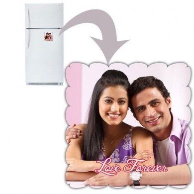 Floral square shaped personalized fridge magnet