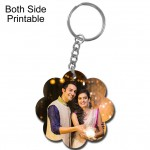 Flower shape both side printable plastic keyring