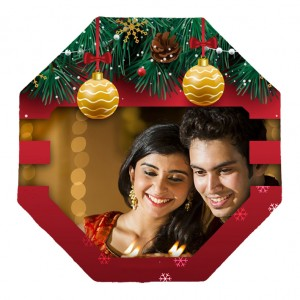 Christmas designed polygon shaped personalized fridge magnet backview