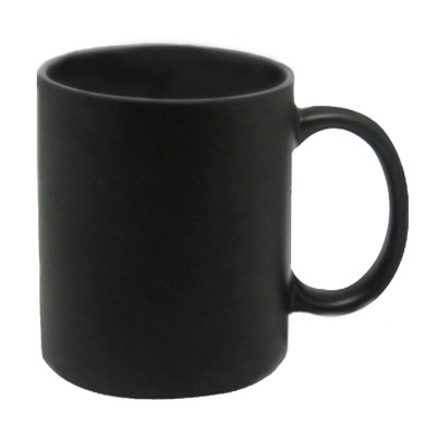 Full black personalized magic mug with photo and text print