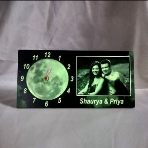 Glow in dark (radium) photo Clock   ( 5 x 11 in )