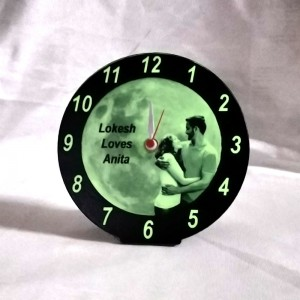 Glow in dark (radium) photo Clock ( 5.5 in )