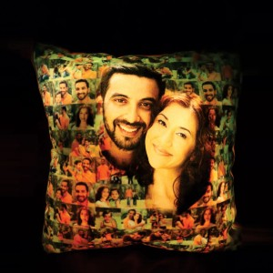 Glowing Light Mosaic Pillow with Magic Effect  both side print  11 x 11 in