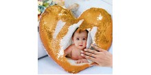 Personalized heart shaped Sequin Cushion Magic Reveal Photo Golden Heart Sequin