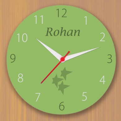 Green colored clock with name