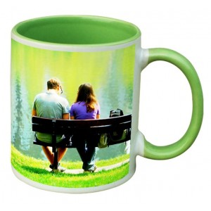 Green dual tone personalized photo mug