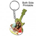 Guitar shape both side printable plastic keyring