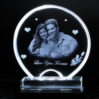 Half Moon shaped crystal with engraved photo inside