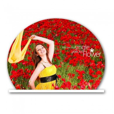 Personalized half circle acrylic photo stand - small