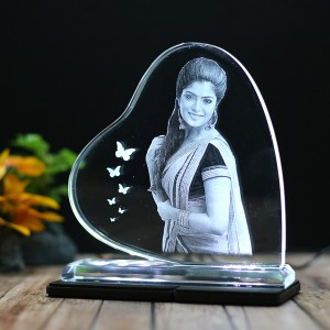 Heart shaped B crystal with engraved photo inside -150x150x12 (mm) with Slim White Light Base