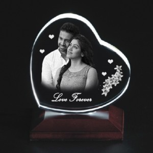 Heart shaped crystal with engraved photo inside -100 x 90 x 20 (mm)