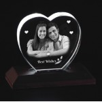 Heart shaped crystal with engraved photo inside -100 x 95 x 20 (mm)
