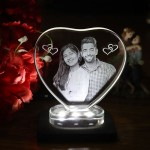 Heart shaped crystal with engraved photo inside -100x 100 x 12 (mm) with Slim White Light Base