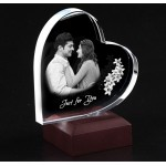 Heart shaped crystal with engraved photo inside -140 x 140 x 20 (mm)