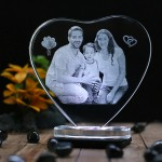 Heart shaped crystal with engraved photo inside -150x150x12 (mm) with Slim White Light Base