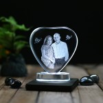 Heart shaped crystal with engraved photo inside -80x80x12 (mm) with Slim White Light Base