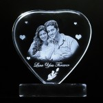 Heart shaped crystal with engraved photo inside stand heart