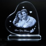 Heart shaped crystal with engraved photo inside Tilted heart
