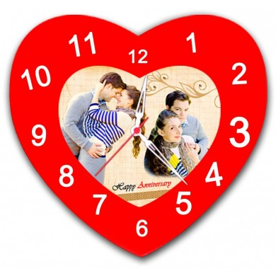 Heart Shaped Personalized Wall Clock with Photo and Text