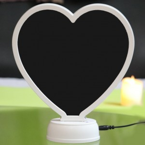 Magic mirror heart shape frame with LED light stand photo print backview