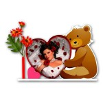 Personalized heart and teddy shaped acrylic photo stand - large