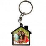 House shape personalized Metal Key Ring with photo