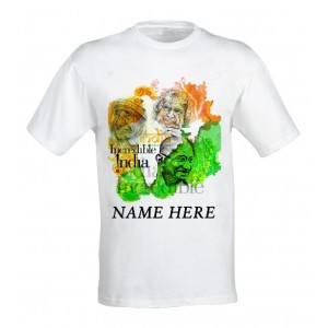 Incredible India Patriotic tshirt personalized with name