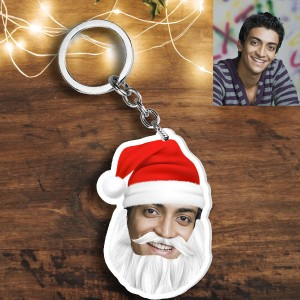Acrylic based Santa Claus Face shaped Key Ring