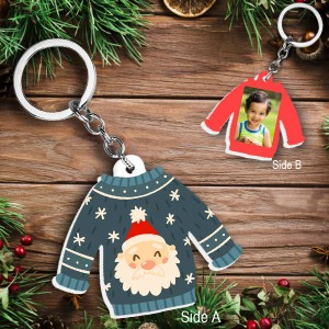 Acrylic based Christmas Sweater shaped Key Ring  backview