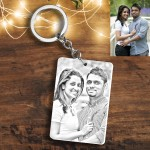 Personalized rectangular Photo Sketch Key Ring