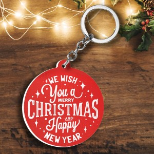 Round shape Christmas wishes and Photo plastic keyring backview