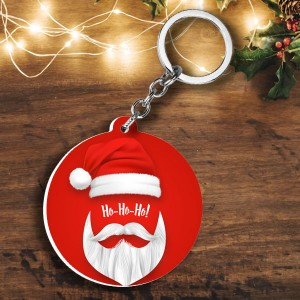 Round shape Christmas cap ho ho ho and Photo plastic keyring backview