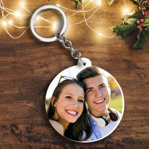 Round shape Christmas cap ho ho ho and Photo plastic keyring