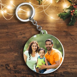 Round shape Christmas wishes and Photo plastic keyring