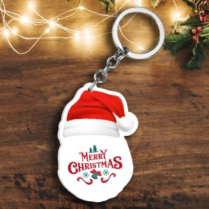 Acrylic based Santa Claus Face shaped Key Ring  backview