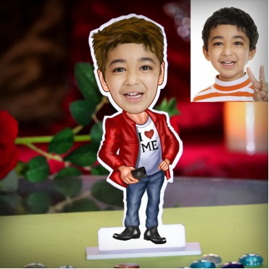 Kid boy standing in blazer personalized Caricature Photo Stand In
