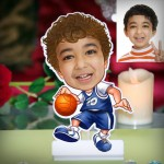 Kid boy with ball personalized Caricature Photo Stand In