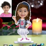 Kid girl standing personalized Caricature Photo Stand In