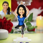 Lady practicing Yoga caricature Photo Stand In