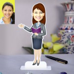 Lady teacher in coat n skirt caricature Photo Stand In